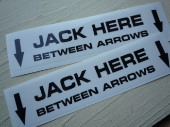 "Jack Here Pit Stop Garage Stickers. 6.25"" Pair."