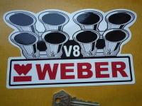 """Weber Carburetor V8 Shaped Sticker. 7""""."""