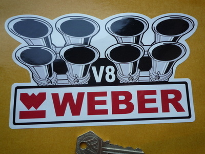 "Weber Carburetor V8 Shaped Sticker. 7""."