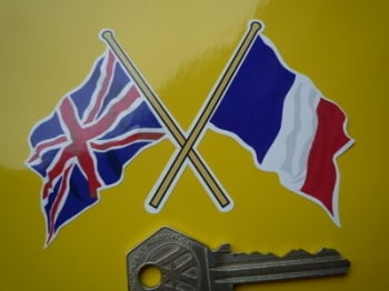 "Crossed Union Jack & French Flag Sticker. 4""."