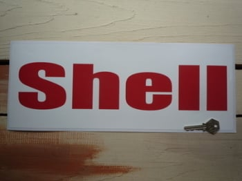"""Shell Red & White Rounded Text Wide Stickers. 16"""" Pair."""