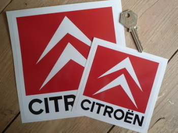"Citroen Chevron Red Square Stickers. 4"" or 6"" Pair."