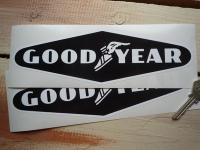 """Goodyear White on Black Diamond No Coachline Stickers. 9"""" Pair."""