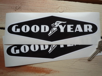 "Goodyear White on Black Diamond No Coachline Stickers. 9"" Pair."