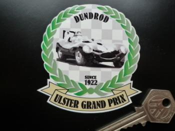 "Ulster Grand Prix Dundrod Car Garland & Scroll Sticker. 3""."
