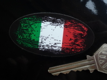 "Italian Fade To Black Oval Sticker. 4"", 6"" or 8""."