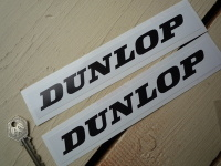 "Dunlop Black on White Oblong Stickers. 7.5"" Pair."