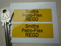 Smiths Petro-Flex REGD Yellow Petrol Pipe Stickers. 2.25