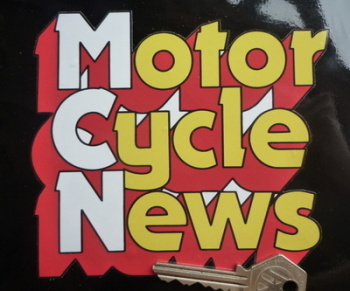 "Motor Cycle News Shaped Sticker. 5.75""."