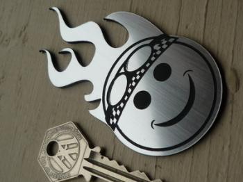 "Smiley Face Driver Flaming Style  Laser Cut Self Adhesive Badge. 4""."