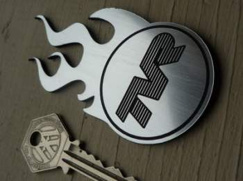 "TVR Flaming Logo Laser Cut Self Adhesive Car Badge. 4""."