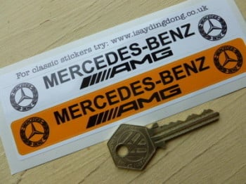"Mercedes Benz AMG Number Plate Dealer Logo Cover Stickers. 5.5"" Pair."