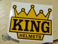 "KING Helmets Black & Yellow Crown Shaped Motorcycle Sticker. 6"". Barry Sheene"