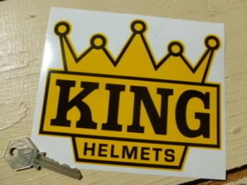 "KING Helmets Black & Yellow Crown Shaped Motorcycle Sticker. 6"". Barry Sheene"
