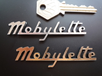 "Mobylette Script Style Laser Cut Self Adhesive Bike Badge. 3""."