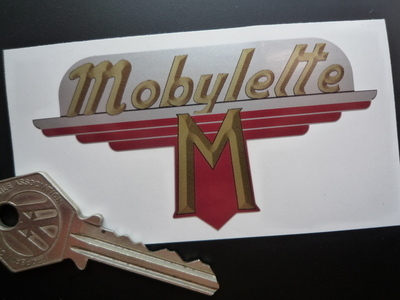 MOBYLETTE TEXT style shaped stickers MOPED etc.