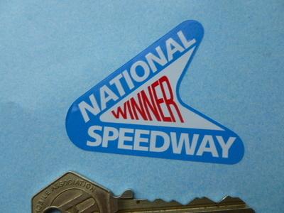 "National Speedway Winner Shaped Sticker. 2""."