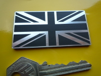 Union Jack Self Adhesive Bike/Car Badge - Oblong - Silver - 1