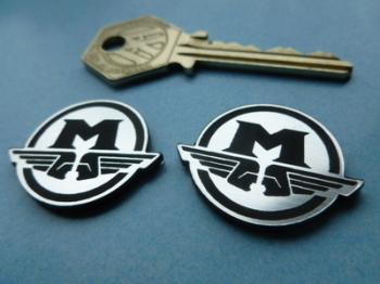 "Motobecane M Logo Style Self Adhesive Bike Badges. 1.25"" Pair."