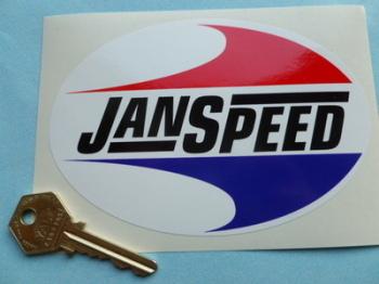 "Janspeed Exhausts Oval Sticker. 5.5""."