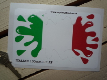 "Italian Flag Splat Style Sticker. 6""."