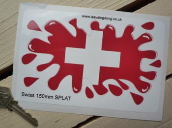 "Swiss Flag Splat Style Sticker. 6""."