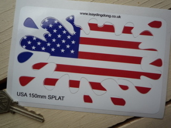 "USA Stars & Stripes Flag Splat Style Sticker. 6""."