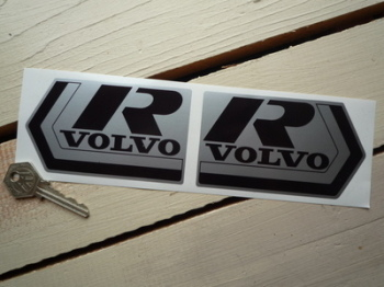 "Volvo R Black & Silver Stickers. 4.25"" Pair."