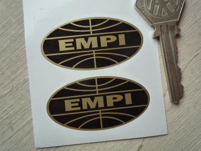 "EMPI Black & Gold Oval Stickers. 2"" Pair."