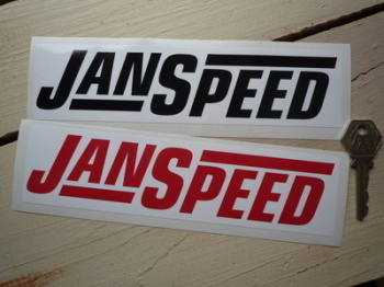 """Janspeed Exhausts Oblong Stickers. 8"""" Pair."""