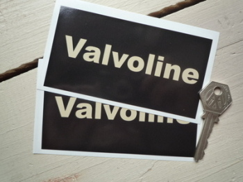 "Valvoline Black & Beige Oblong Stickers. 4.75"" Pair."