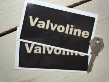 "Valvoline Black & Beige Oblong Stickers. 4.75"" Pair."