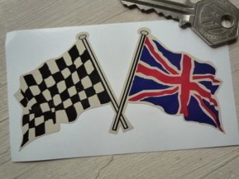 "Crossed Chequered & Union Jack Wavy Flags on Beige Sticker. 4""."