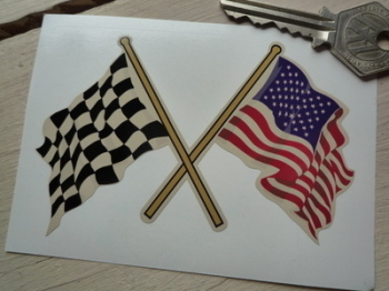 "Crossed USA Stars & Stripes & Chequered Flag on Beige Sticker. 4""."