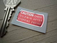 Honda S800 Caution Check Oil Sticker. 1.25