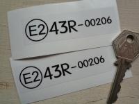 Race Car Perspex Window E2 Code Stickers. 3