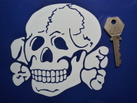 "Totenkopf Skull & Crossbone Cut Vinyl White or Beige Sticker. 4"" or 5""."