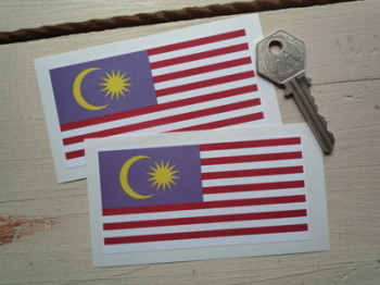 "Malaysian Flag Square Cut Stickers. 4"" Pair."