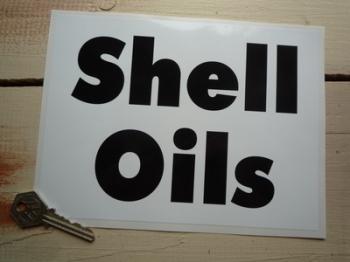 """Shell Oils Black & White Plain Oblong Sticker. 8""""."""