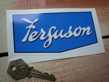 "Ferguson Blue & White Shaped Sticker. 5""."