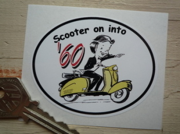'Scooter on into 1960' Sticker. 3""