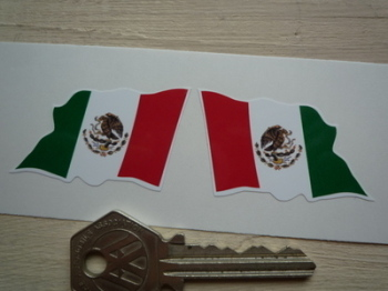 "Mexican Wavy Flag Stickers. 2"" Pair."