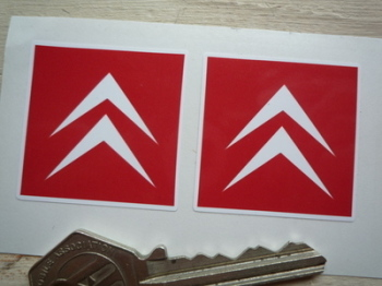 Citroen Red & White Chevron Stickers. 36mm Pair.