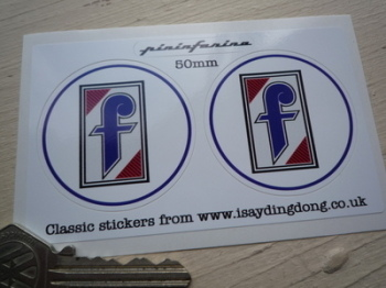 "Pininfarina Circular Logo Stickers. 2"" or 3"" Pair."