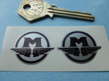 "Motobecane M Logo Black & Silver Stickers. 1.25"" Pair."