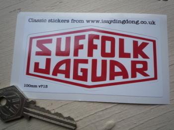 """Suffolk Jaguar Red & White  Lozenge Sticker. 4""""."""