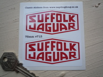 "Suffolk Jaguar Red & White  Lozenge Stickers. 3"" Pair."