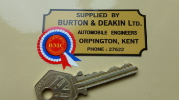 "BMC Burton & Deakin Automobile Engineers Kent Dealers Sticker. 2.75""."