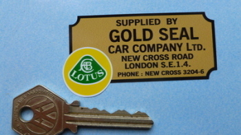 "Lotus Gold Seal Car Company London Dealers Sticker. 2.75""."