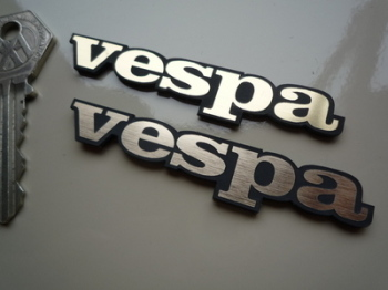 "Vespa Laser Cut Self Adhesive Scooter Badges in Gold. 3"" Pair."